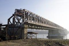 Demounting the Stary most bridge in Bratislava Royalty Free Stock Photo