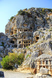 Demre lician mountains tombs Stock Photos