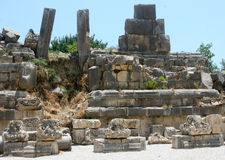 Demre, Lycia, Turkey. Columns, capitals in the ruins of Demre, Turkey Royalty Free Stock Photos
