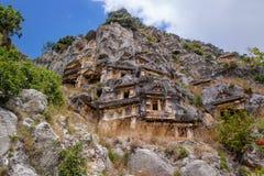Demre, Turkey, Ancient rock-cut tombs in Myra Stock Photography