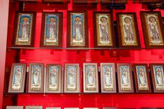 Orthodox icons on the shop counter. Demre, Turkey - May 21, 2019: Orthodox icons on the shop counter stock photo