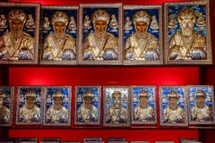 Orthodox icons on the shop counter. Demre, Turkey - May 21, 2019: Orthodox icons on the shop counter stock image