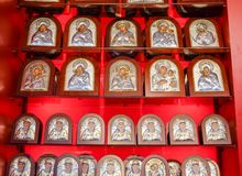 Orthodox icons on the shop counter. Demre, Turkey - May 21, 2019: Orthodox icons on the shop counter royalty free stock images