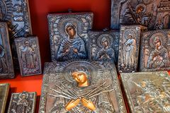 Orthodox icons on the shop counter. Demre, Turkey - May 21, 2019: Orthodox icons on the shop counter royalty free stock photography