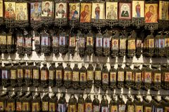 Orthodox souvenir icons with Saint Nicholas. Demre, Turkey - May 21, 2019: Orthodox souvenir icons with Saint Nicholas stock image