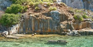 Kekova is an island that under the water preserves the ruins o Royalty Free Stock Photo