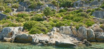 Kekova is an island that under the water preserves the ruins o Stock Image