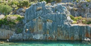 Kekova is an island that under the water preserves the ruins of Royalty Free Stock Photo