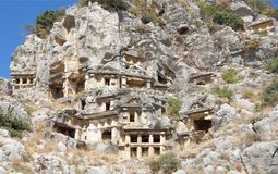 Myra  was an ancient Greek town in Lycia.The tomb carved into Royalty Free Stock Image