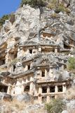 Myra  was an ancient Greek town in Lycia.The tomb carved into t Royalty Free Stock Images