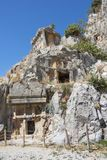Myra  was an ancient Greek town in Lycia.The tomb carved into Royalty Free Stock Photos