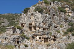 Myra  was an ancient Greek town in Lycia.The tomb carved into Royalty Free Stock Images
