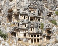 Myra  was an ancient Greek town in Lycia.The tomb carved into t Royalty Free Stock Photo
