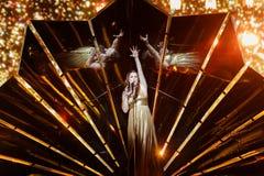 Demy från Grekland på striden för Eurovision sång Arkivbilder