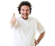 denåldrades manen i vitt-skjorta visning tumm upp Arkivfoto