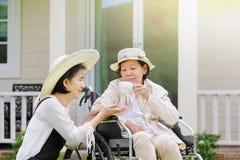 Den äldre kvinnan kopplar av i trädgård med dottern Royaltyfri Bild