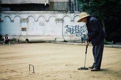 Den äldre mannen som spelar krocket i, parkerar med vänner fotografering för bildbyråer