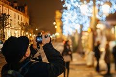 Den äldsta julen marknadsför i Europa - Strasbourg, Alsace, Fran Arkivfoto