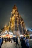 Den äldsta julen marknadsför i Europa - Strasbourg, Alsace, Fran Arkivbilder