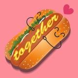 Den älska hotdogen Stock Illustrationer