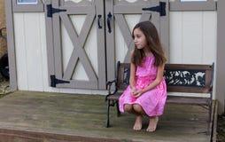Den älskvärda lilla flickan på stol i däcket parkerar med rosa färgklänningen under sommar i Michigan arkivfoton