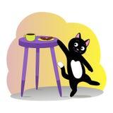 Den älskvärda listiga katten önskar att ta en kaka vektor illustrationer