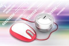 den ändrande musen för pengar för datorbegreppsdesignen online var Arkivfoto