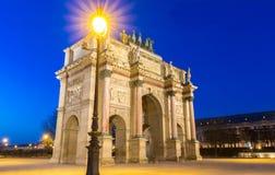 Den ärke- de Triomphe du karusellen, Paris, Frankrike arkivfoto