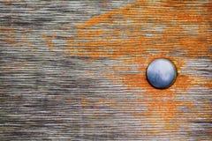 Den åldriga träplankan texturerade bakgrund med metalllocket och sjaskig röd målarfärg Moget frö av granatäpplet Royaltyfri Foto
