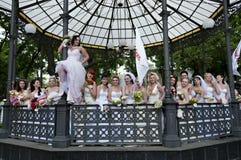 den årliga brudhändelsen ståtar först Royaltyfria Bilder