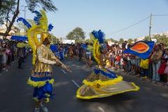 Den årliga karnevalet i huvudstaden i Kap Verde, Praia. Arkivbild