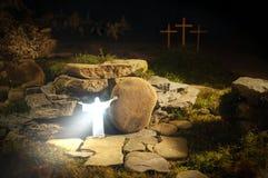 Den återuppväckte Jesus Christ & x28en; Messiah Savior& x29; kommer ut ur graven & x28en; Resurrection& x29; arkivfoto