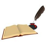 Den öppna boken, bläckhorn med en fjäder isolerat Royaltyfri Foto