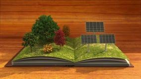 Den öppna boken gör solenergiväxten, solpanelen, sol- energi, brun bakgrund vektor illustrationer