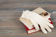 Den öppna boken, inbunden bok bokar på trätabellen, rosa, och stack vita handskar virkar tillbaka till skolan Kopiera utrymme för Arkivfoto