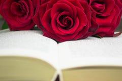 Den öppna boken och de röda rosorna royaltyfria foton