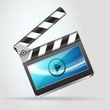 Den öppna filmen kritiserar clapperboardsymbolen Royaltyfri Fotografi