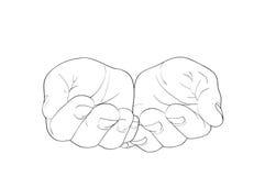 Den öppna gesten gömma i handflatan Händer ger sig eller mottar också vektor för coreldrawillustration Arkivbild
