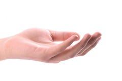 den öppna handen gömma i handflatan Arkivfoto