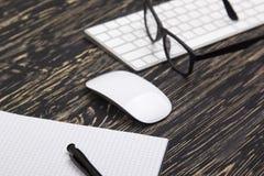 Den öppnade anteckningsboken, exponeringsglas, rånar, det moderna datortangentbordet och vitmusen Arkivfoto
