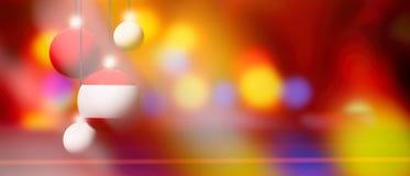 Den Österrike flaggan på jul klumpa ihop sig med suddig och abstrakt bakgrund Royaltyfri Bild