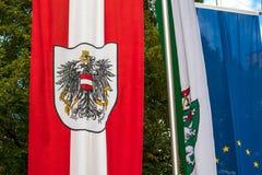 Den österrikiska flaggan med vapenskölden framkallar i vinden arkivbild