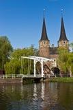 Den östliga porten (Oostpoort) i delftfajans, ett exempel av tegelsten Gothi Royaltyfria Foton