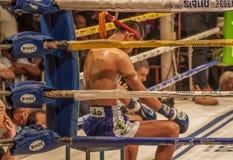 Den över hela världen berömda muay thai stridigheten, Thailand arkivfoton
