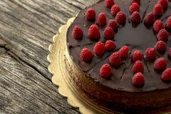 Den över huvudet sikten av den smakliga rå chokladkakan dekorerade med raspber royaltyfri fotografi
