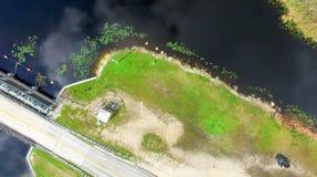 Den över huvudet sikten av Everglades översvämmar, Florida - USA arkivfoto
