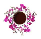 Den över huvudet sikten av koppen av blommor för svart kaffe och rosa färgisolerade nolla Arkivbilder