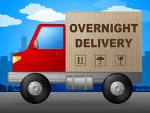 Den över natten leveransen föreställer den nästa dagen och kuriren Arkivfoto