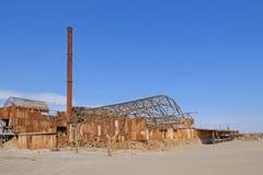 Den övergav Humberstone och Santa Laura salpeter fungerar fabriken, nära Iquique, nordliga Chile, Sydamerika arkivbilder