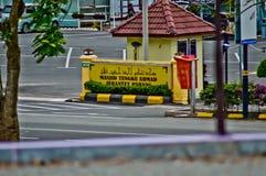 Den övre bilden för slut av den främre porten av moskén i jerantutpahang Malaysia Royaltyfri Bild